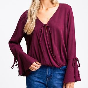 Boho Tie Front Top with Bell Sleeves